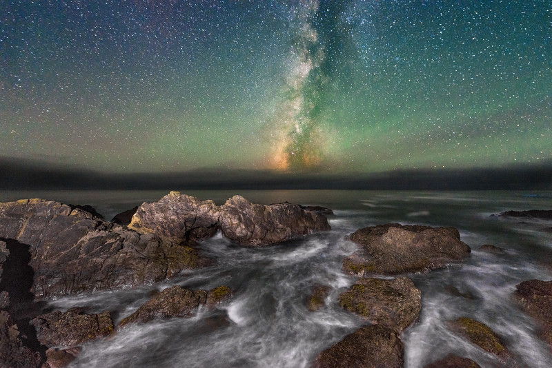 Arch Rock and Night Sky, Sea Ranch, California
