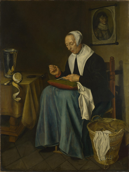 An Old Woman seated sewing