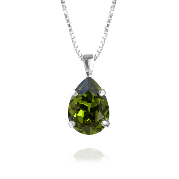Mini Drop Necklace / Olivine Rhodium