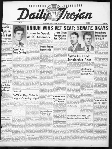 Daily Trojan, Vol. 38, No. 63, December 13, 1946
