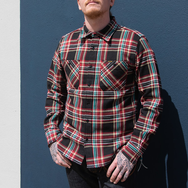 Black Crazy Check Ultra Heavy Flannel Work Shirt-24746.jpg