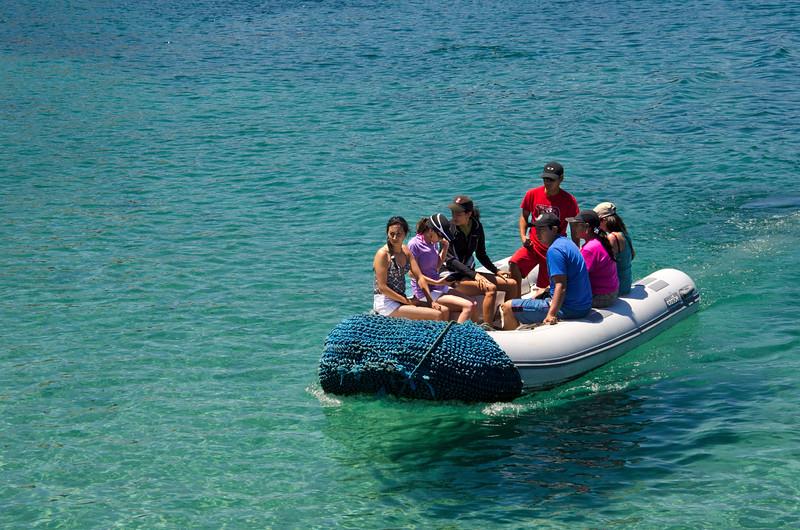 Panga ride from boat to Bartolome landing.