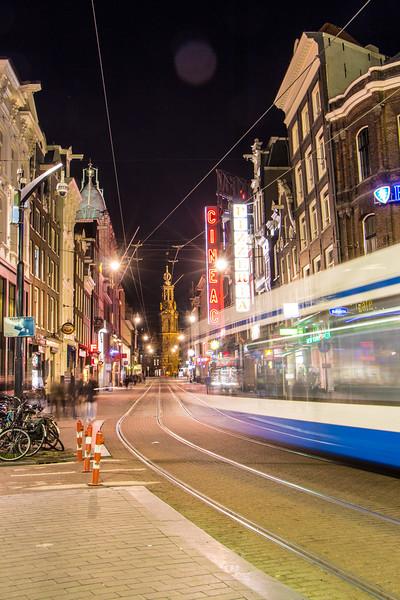 Reguliersbreestraat and a Tram