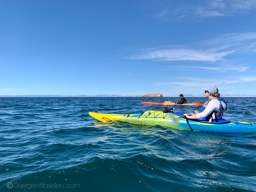 Lina Stock of Divergent Travelers  kayaking near Camp Cecil on Isla Espiritu Santo
