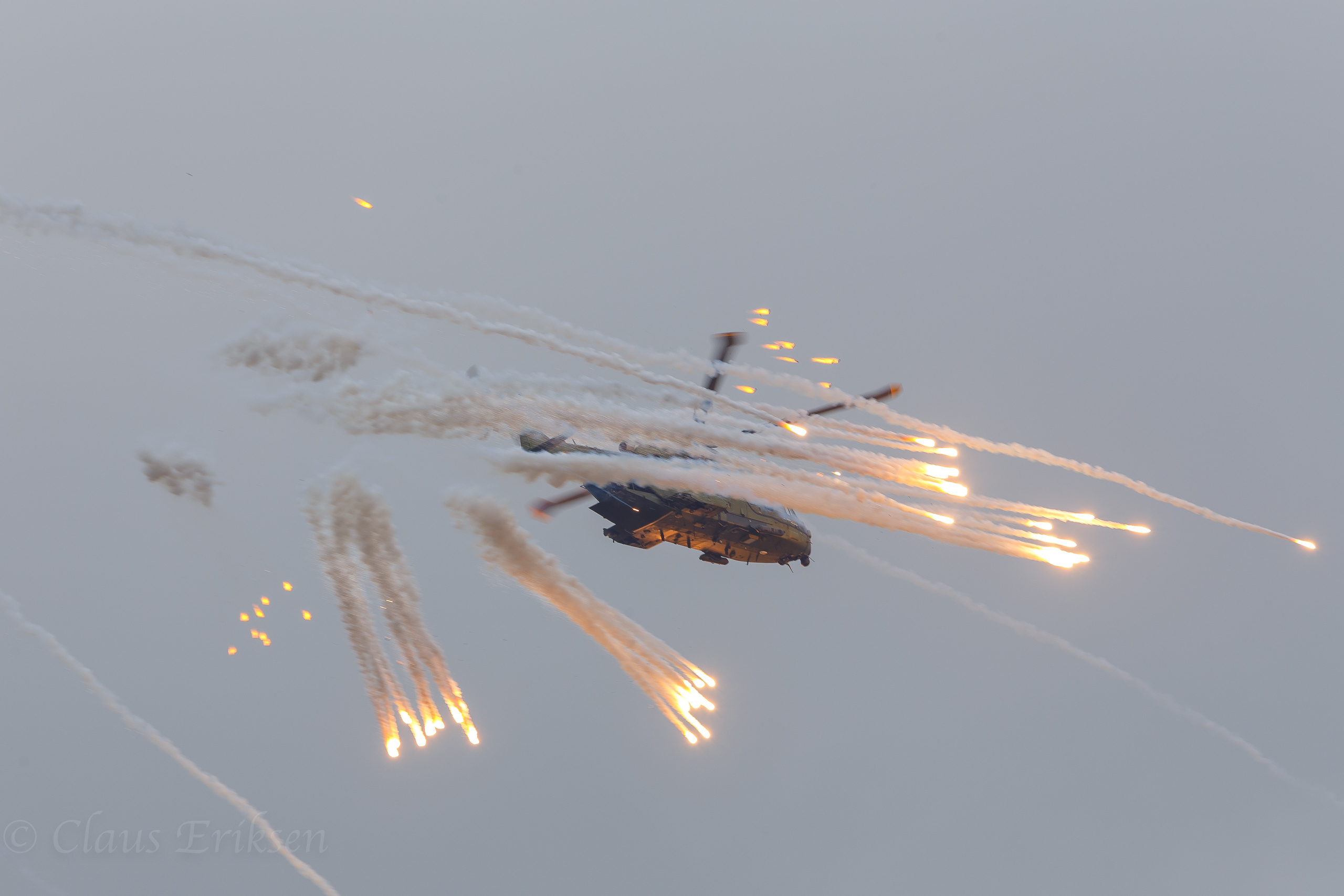 EH-101 dropping flares