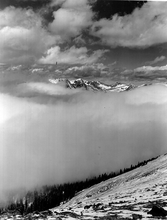 . View from Trail Ridge Road, Rocky Mountain National Park, Colorado in 1939. (Denver Post Library photo archive)