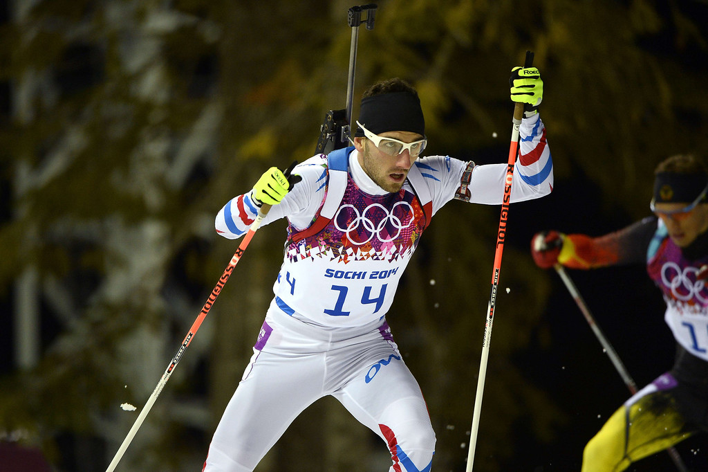 . Bronze winner France\'s Jean Guillaume Beatrix competes in the Men\'s Biathlon 12,5 km Pursuit at the Laura Cross-Country Ski and Biathlon Center during the Sochi Winter Olympics on February 10, 2014 in Rosa Khutor near Sochi.     PIERRE-PHILIPPE MARCOU/AFP/Getty Images