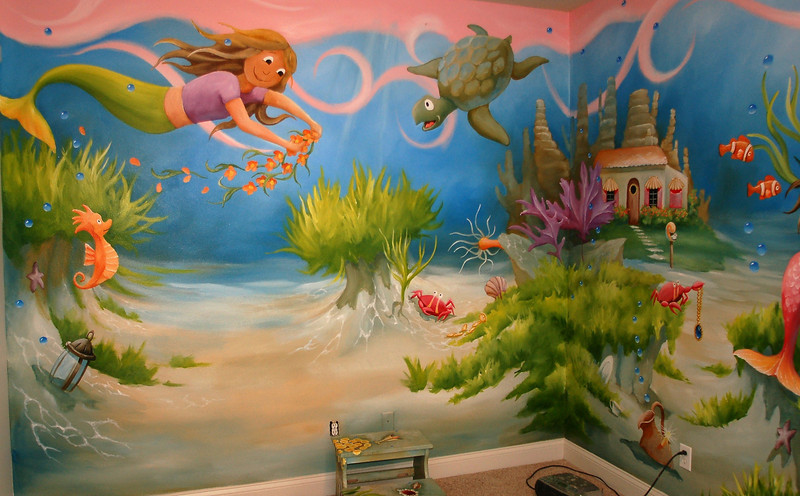 details from 'mermaid ' wall mural children's room