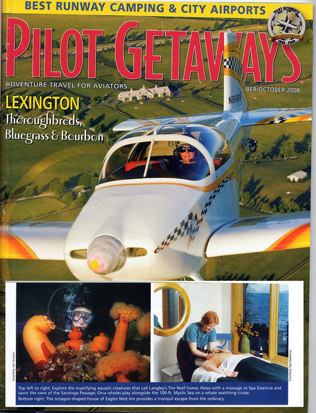 Article about flying destination - Whidbey Island - featured Langley and one of its attractions - diving the Langley Tire Reef. Pilot Getaways Magazine, October 2008 issue.