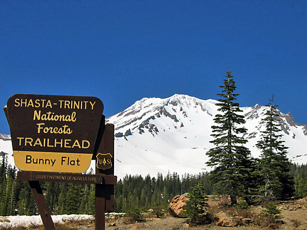 Beginning point of our climb with Mt. Shasta in the background.