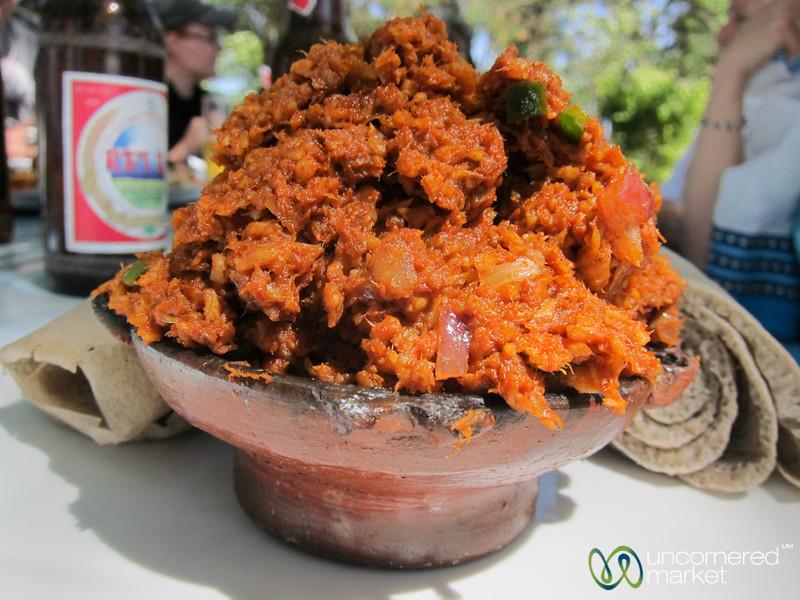 Fish Kitfo at Lake Shore Restaurant in Bahir Dar, Ethiopia