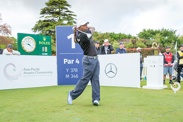 George Rukabo from Somolman Islands hitting off the 1st tee on Day 1 of competition in the Asia-Pacific Amateur Championship tournament 2017 held at Royal Wellington Golf Club, in Heretaunga, Upper Hutt, New Zealand from 26 - 29 October 2017. Copyright John Mathews 2017.   www.megasportmedia.co.nz