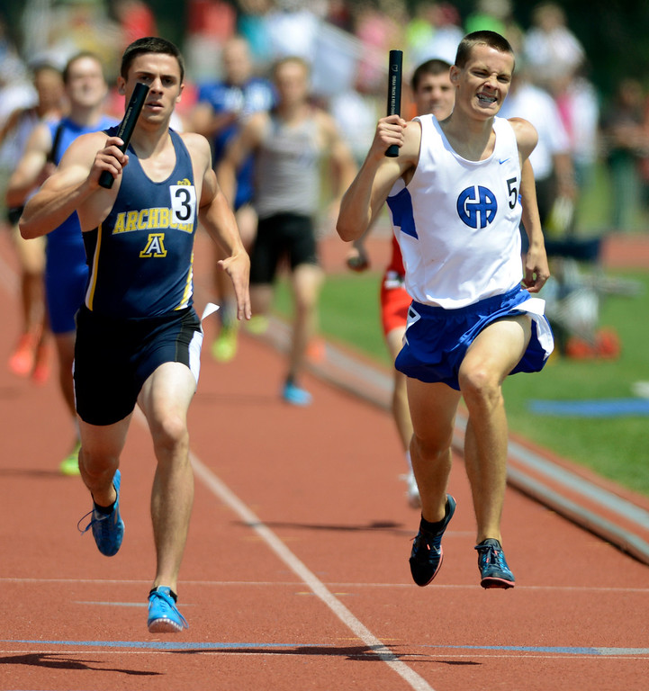 . Maribeth Joeright/MJoeright@News-Herald.com <p> Gilmour anchor Brandon Phillips makes a valient attempt at second place but the team finished third in the Division III boys 4X400 meter relay during the state track and field championship meet in Columbus, June 7, 2014. Gilmour also was runner up in the DIII team title.