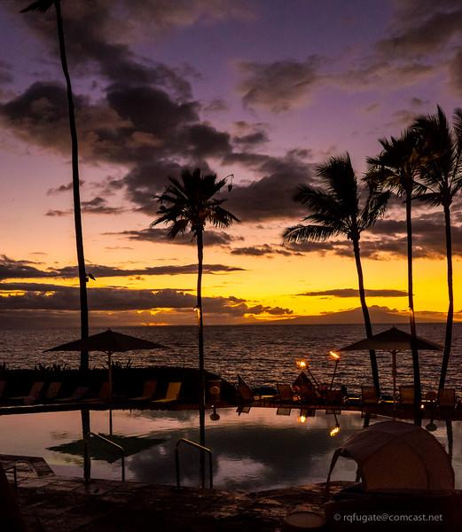 Poolside at Maui sunset