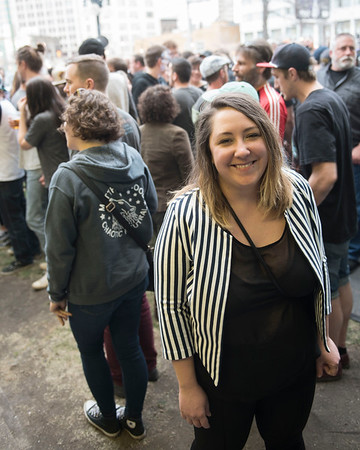 DAVID LIPNOWSKI / WINNIPEG FREE PRESS  Michelle Moulson photographed in the beer gardens at the Burton Cummings Theatre prior to Eagles Of Death Metal Sunday May 1, 2016.