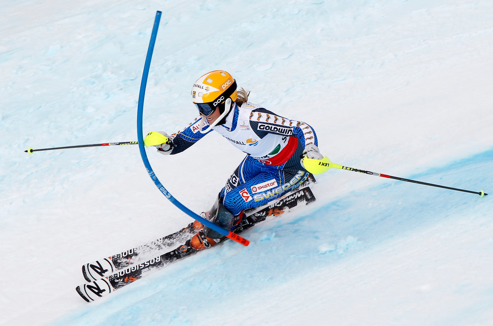 Description of . Frida Hansdotter of Sweden wins the bronze medal during the Audi FIS Alpine Ski World Championships Women's Slalom on February 16, 2013 in Schladming, Austria. (Photo by Alexis Boichard/Agence Zoom/Getty Images)