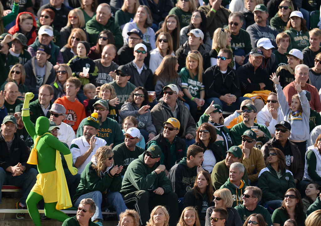 . FORT COLLINS, CO - OCTOBER 12 : Colorado State fans cheer on their team during the game against San Jose State at Hughes Stadium. Fort Collins. Colorado. October 12, 2013. San Jose won 34-27. (Photo by Hyoung Chang/The Denver Post)