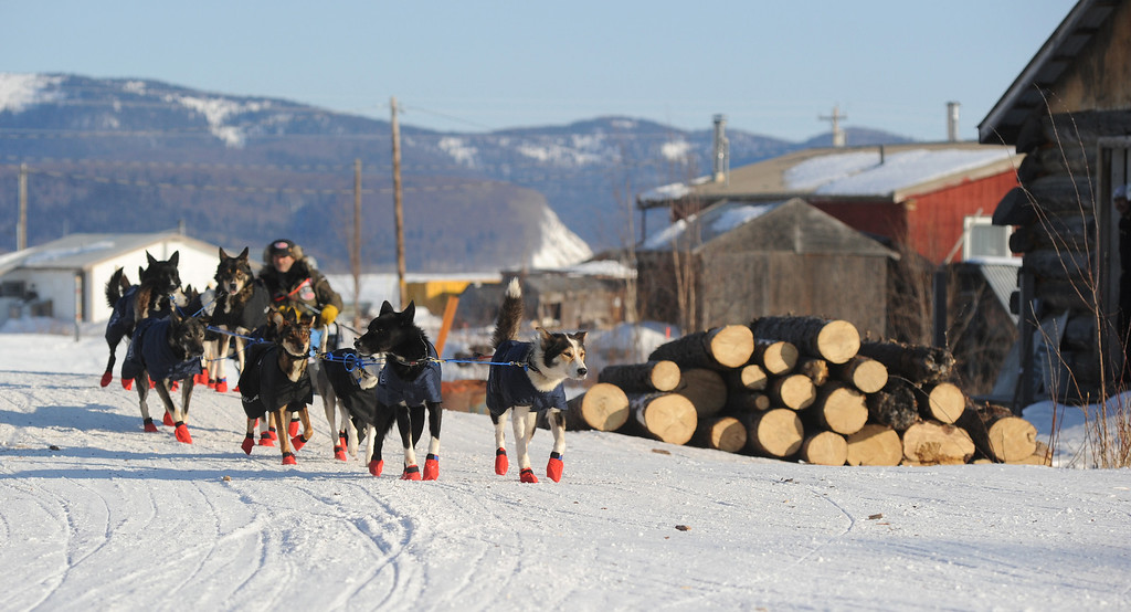 . Robert Sorlie drives his team out of the Yukon River village of Kaltag during the 2014 Iditarod Trail Sled Dog Race on Saturday, March 8, 2014.  (AP Photo/The Anchorage Daily News, Bob Hallinen)