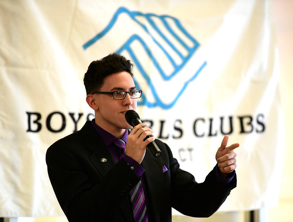 4/4/2019 Mike Orazzi | Staff Bristol Boys & Girls Club Youth of the Year Stanley Cardona after winning this year's award Thursday evening.
