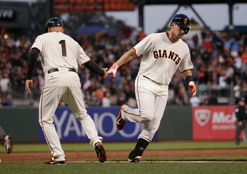 . San Francisco Giants\' Andrew Susac, right, shakes hands with third base coach Tim Flannery after Susac\'s solo home run against the Colorado Rockies during the second inning of a baseball game Monday, Aug. 25, 2014, in San Francisco. (AP Photo/Marcio Jose Sanchez)