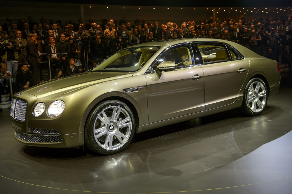 . The new Flying Spur Bentley model car is displayed during a preview of Volkswagen Group on March 4, 2013 ahead of the Geneva Car Show in Geneva.  FABRICE COFFRINI/AFP/Getty Images