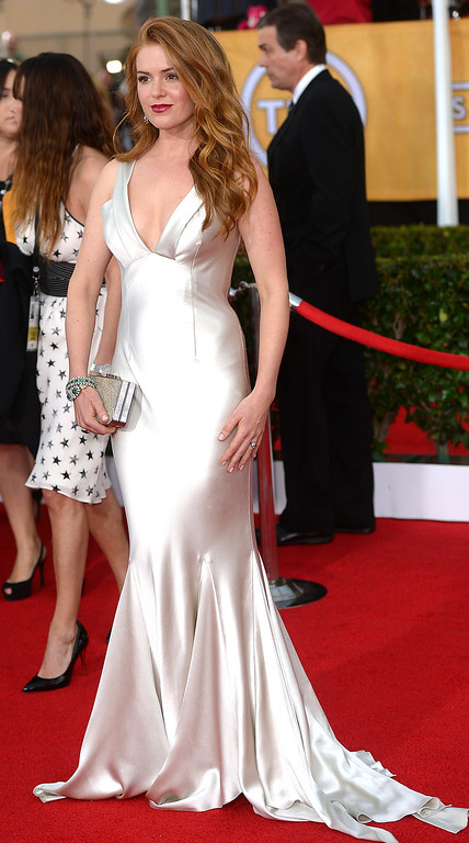 . Isla Fisher arrives at the 20th Annual Screen Actors Guild Awards  at the Shrine Auditorium in Los Angeles, California on Saturday January 18, 2014 (Photo by Michael Owen Baker / Los Angeles Daily News)