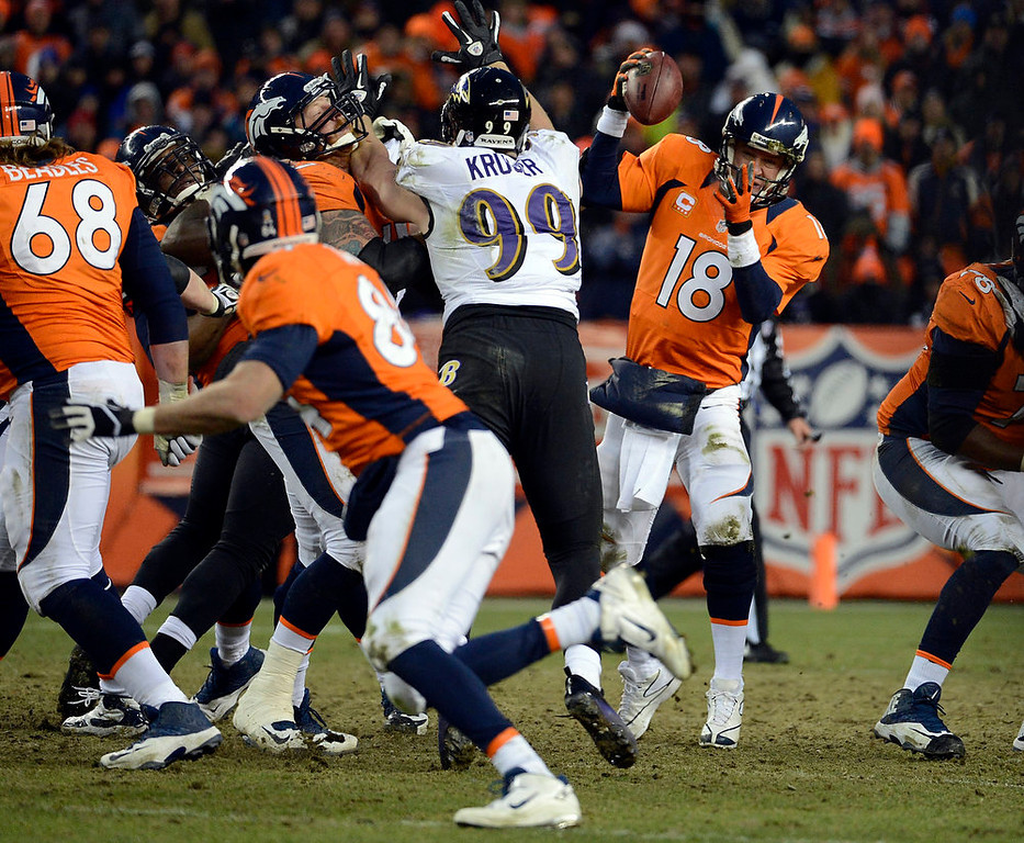 . Denver Broncos quarterback Peyton Manning (18) tries to pull in the ball during the second half.  The Denver Broncos vs Baltimore Ravens AFC Divisional playoff game at Sports Authority Field Saturday January 12, 2013. (Photo by Tim Rasmussen,/The Denver Post)