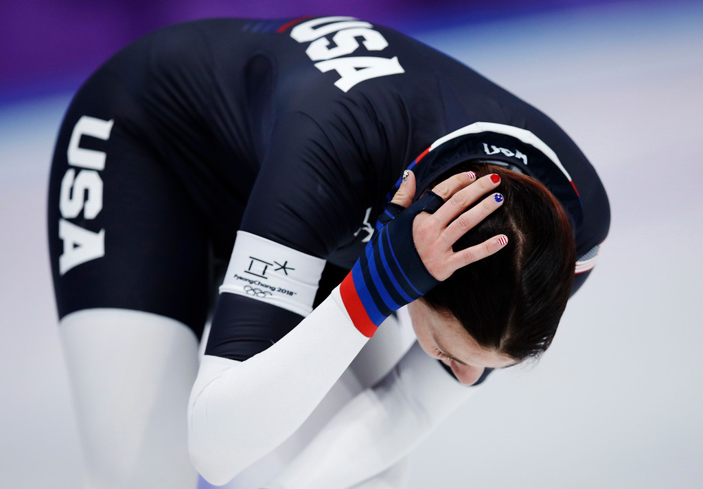 . Heather Bergsma of the U.S. reacts after the women\'s 1,500 meters speedskating race at the Gangneung Oval at the 2018 Winter Olympics in Gangneung, South Korea, Monday, Feb. 12, 2018. (AP Photo/Vadim Ghirda)