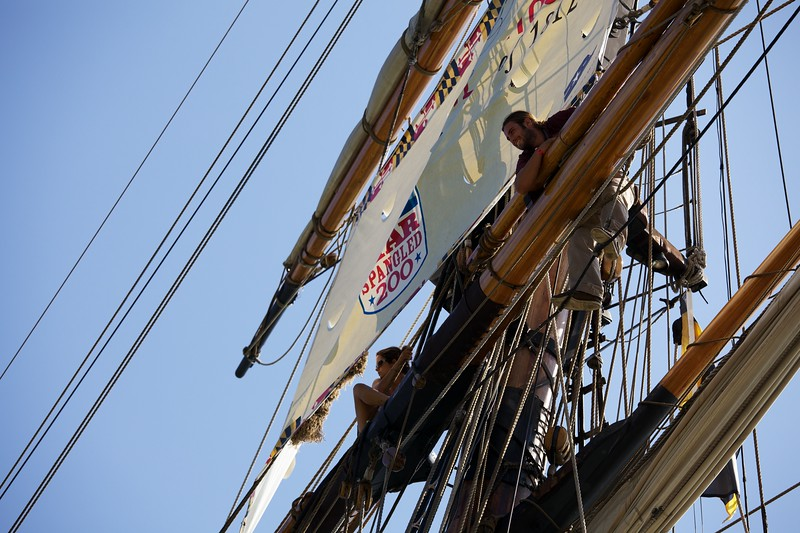 Manning the rigging on the Pride of Baltimore.
