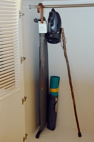Kimpton's signature yoga mat along with an umbrella and walking stick at the Taconic Hotel in Manchester, VT