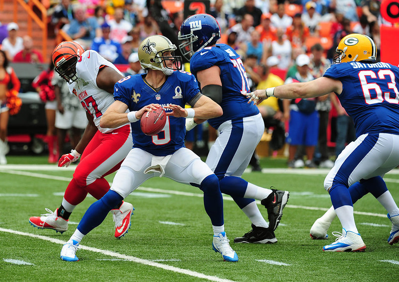 . Drew Brees #9 of the New Orleans Saints passes against the American Football Conference team during the 2013 Pro Bowl at Aloha Stadium on January 27, 2013 in Honolulu, Hawaii  (Photo by Scott Cunningham/Getty Images)