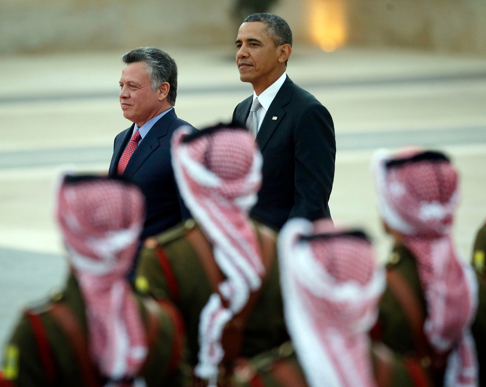 . President Barack Obama and Jordan\'s King Abdullah II, participate in an arrival ceremony at the King\'s Palace in Amman, Jordan Friday, March 22, 2013. (AP Photo/Pablo Martinez Monsivais)