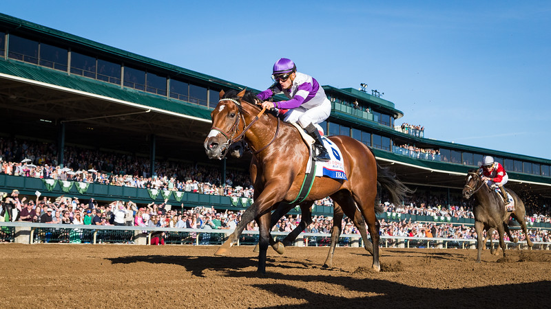 Irap (#6, Tiznow) wins the Bluegrass Stakes at Keeneland on 4.8.2017. Julien Leparoux up, Doug O'Neill trainer, Paul Reddam owner.