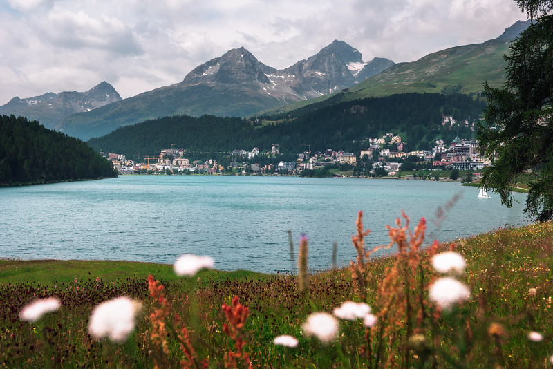 St. Moritz with lake called St. Moritzsee and Swiss Alps in Engadin, Switzerland