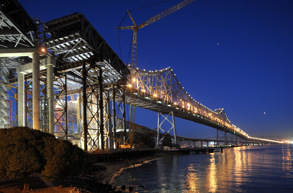 . The San Francisco-Oakland Bay Bridge becomes a ghost town Thursday evening, Sept. 3, 2009, after Caltrans began their four-day closure allowing work crews to remove a 300-yard section of the eastern span and replace it with a detour connector. (Karl Mondon/Staff)