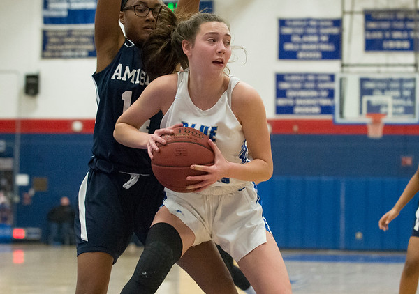 12/27/19 Wesley Bunnell | StaffrrPlainville girls basketball vs Amistad Academy on Friday night at Plainville High School. Lilly Wazorko (1).