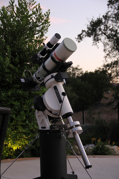AstroPhysics AP1200 on 24in portable pier.  Tak FSQ106  with SBIG ST-8300M with FW-8 filter wheel. Borg guide scope with SBIG SG-4 guider.