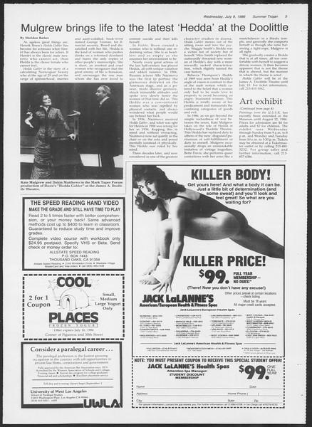 Summer Trojan, Vol. 101, No. 8, July 09, 1986