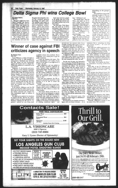 Daily Trojan, Vol. 111, No. 24, February 14, 1990
