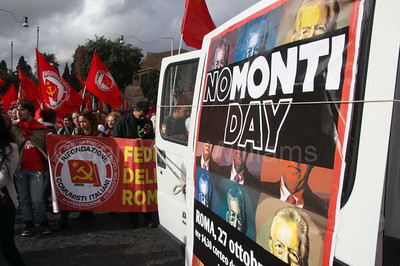 No Mario Monti Day demonstration in Rome Italy