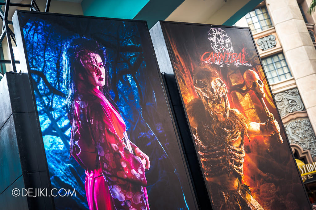 Universal Studios Singapore Halloween Horror Nights 8 / Entrance Arch Characters Lady Oiwa and Cannibal Chief