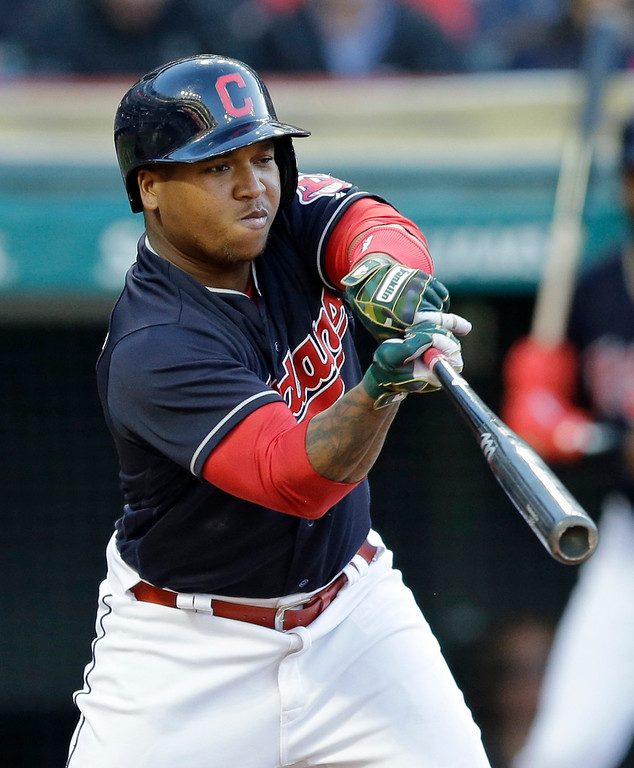 . Cleveland Indians\' Jose Ramirez swings for strike three in the seventh inning of a baseball game against the Oakland Athletics, Wednesday, May 31, 2017, in Cleveland. (AP Photo/Tony Dejak)