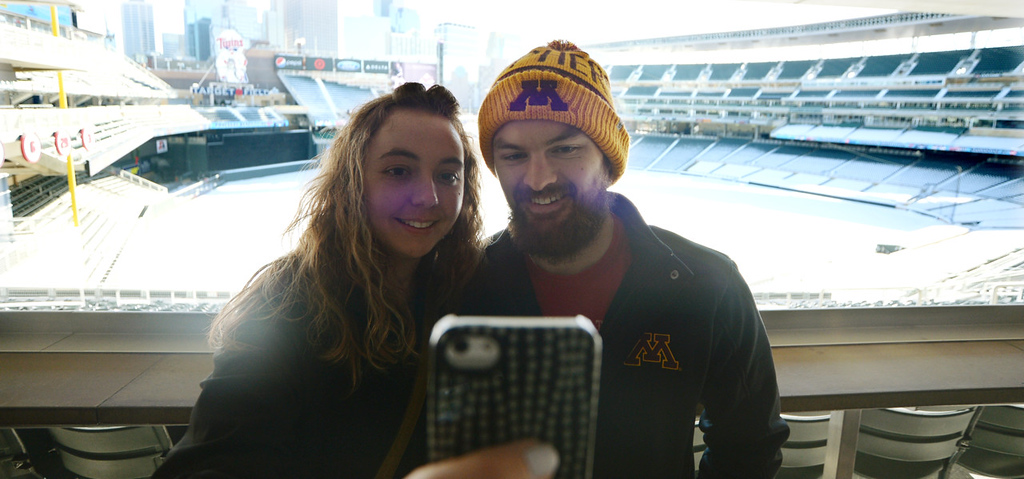 . Elisha and Justin Thomas, from Plymouth take a \'selfie\' with at Target Field during Twinsfest, Saturday, January 25, 2014(Pioneer Press: John Autey)