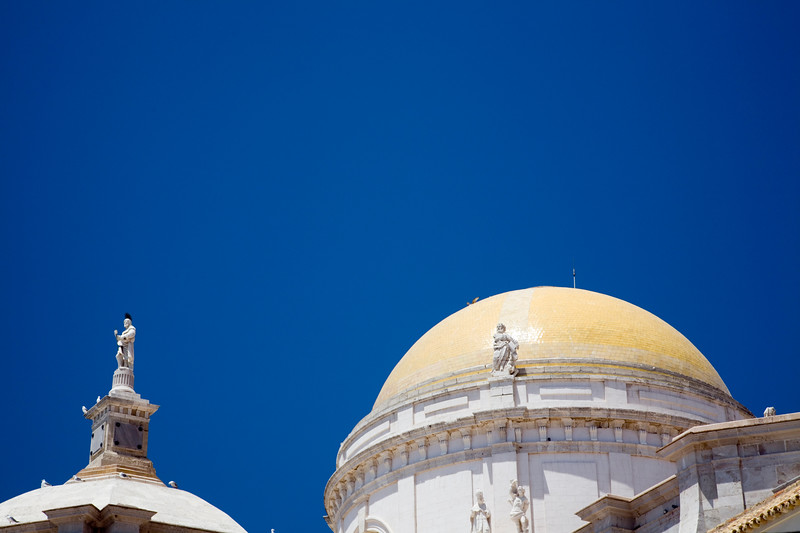 Colorful image of the yellow dome of Cadiz Cathedral, Spain