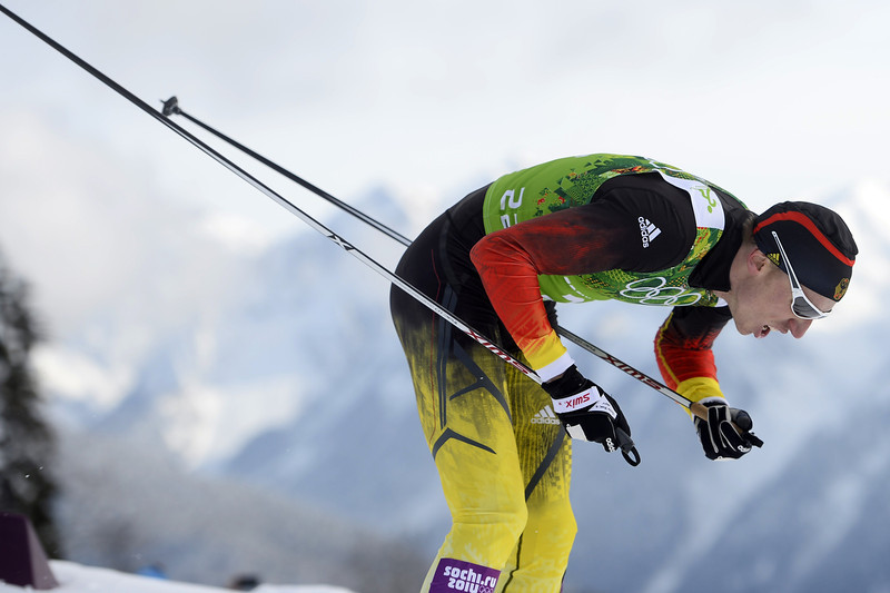 . Germany\'s Tim Tscharnke competes in the Men\'s Cross-Country Skiing Team Sprint Classic Final at the Laura Cross-Country Ski and Biathlon Center during the Sochi Winter Olympics on February 19, 2014 in Rosa Khutor near Sochi. (PIERRE-PHILIPPE MARCOU/AFP/Getty Images)