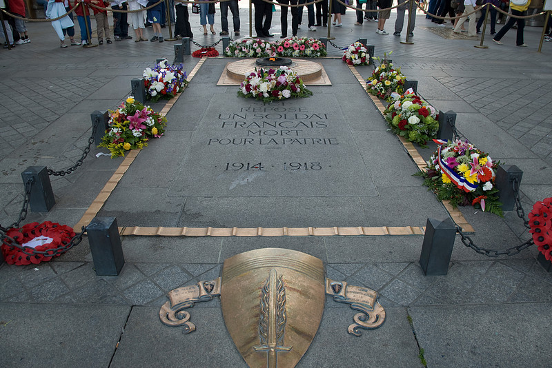 Memorial outside Arc de Triomphe, Paris France