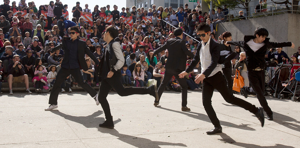 """. Members of the Korean Performance Group from the University of California dance \""""Gangnam Style,\"""" during the Oakland Museum of California\'s Lunar New Year celebration, Sunday, Feb. 17, 2013 in Oakland, Calif. (D. Ross Cameron/Staff)"""