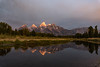 Alpenglow on Grand Teton Peaks