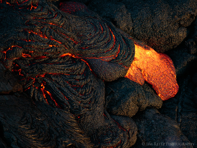 Lava flows below Pu'u O'o Crater - helicopter flight