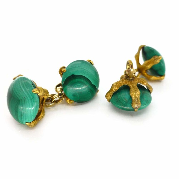 Antique Edwardian Gold Malachite Claw Cufflinks - Boxed